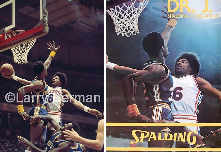 Julius Erving Photo by Larry Berman used for a Spalding Poster