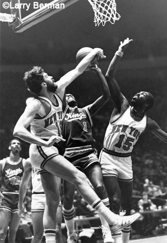 Nate Archibald, Phil Jackson and Earl Monroe photo by Larry Berman