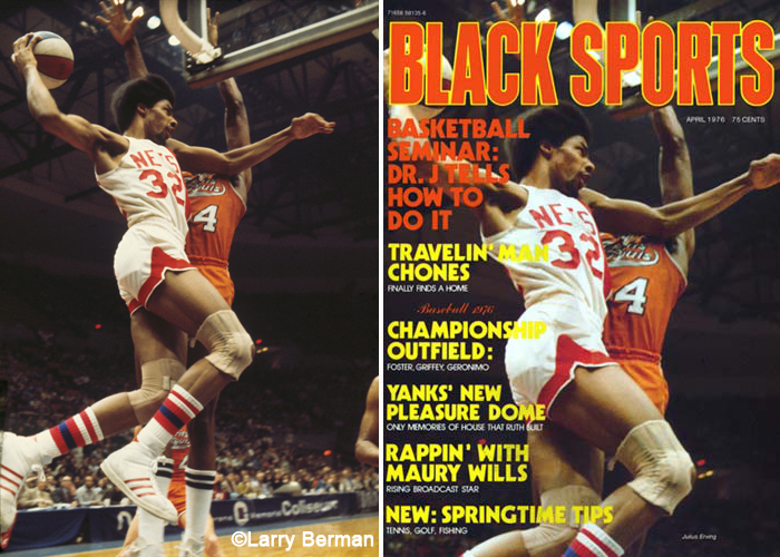 Julius Erving Dr J Photograph on the cover of Black Sports Magazine by Larry Berman