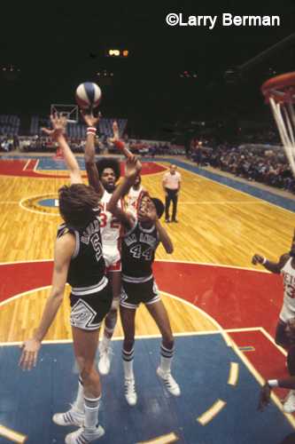 Julius Erving and George Gervin and Billy Paultz photograph by Larry Berman