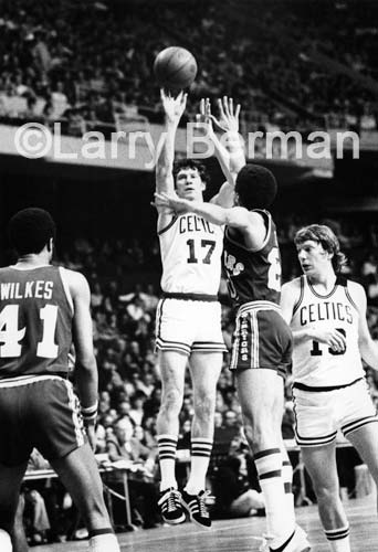 John Havlicek jump shot photo by Larry Berman