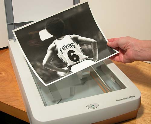 Scanning the 8x10 print of Julius Erving for Converse